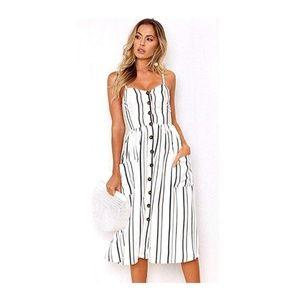 Striped Spaghetti Strap Button Down Pocket Dress